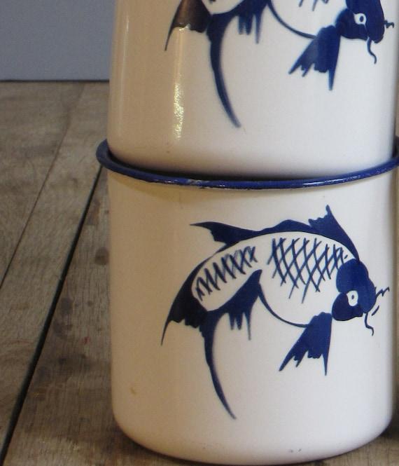 set of four vintage koi fish mugs