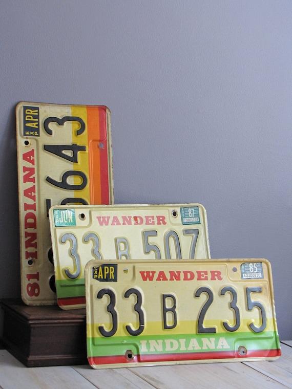 vintage 80's license plates - indiana