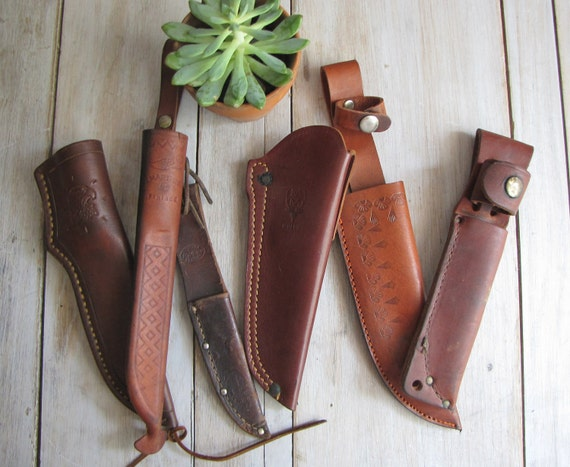vintage knife sheath collection - six