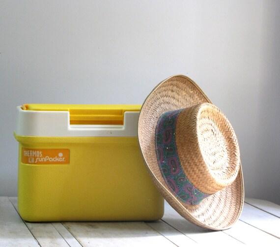 vintage yellow thermos sunpacker cooler