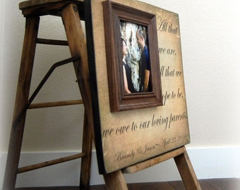 Wedding Gift For Parents Personalized Picture Frame Custom 16x16 -All That We Are- Anniversary Love Father of Mother of Song Vows Thank You