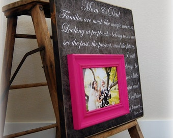 Personalized Picture Frame Custom Wedding Gift 16x16 Mom and Dad Anniversary Love Father Mother Parents Quote Song Vows Guest Book Frames
