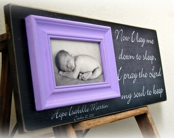 Frame for Baby, Baby Frame, Baby Picture Frame, Nursery Decoration, Baptism, Christening, First Birthday,Personalized Baby 8x20 Now I lay