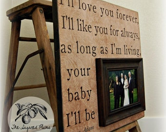 I'LL LOVE YOU Forever Fathers Day Picture Frame Custom Wedding Gift Personalized 16x16 Mother Of The Bride Parents Dad Men Gift