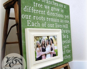 Sister Frame, Bridesmaid, Maid of Honor, Sorority, Best Friend, Personalized Picture Frame, 16x16 BRANCHES ON a TREE, The Sugared Plums