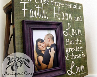 Personalized Picture Frame Wedding Gift Custom 16x16 FAITH HOPE and LOVE Anniversary Father Mother Parents Quote Thank You Guest Book Signs