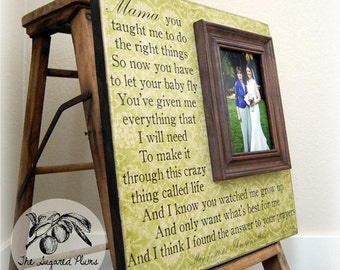 Mother Of The Bride Personalized Custom Picture Frame 16x16 Anniversary Love Father Mother Parents Shower Quote Verse Song Vows Mom Mama