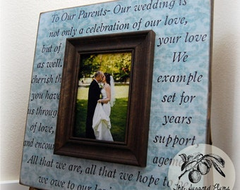 Parents Gift Personalized Picture Frame Wedding Gift Custom 16x16 TO OUR PARENTS Anniversary Father Of The Bride Mother Quote Thank You Song