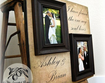 Personalized Picture Frame Wedding Gift Custom 16x16 MY SOUL LOVES Anniversary Love Father Mother Parents Shower Quote Thank You Guest Book
