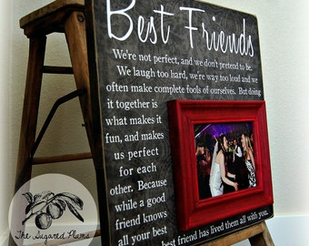 sister gift bridesmaid gift best friend gift maid of honor gift personalized picture frame 16x16 best friends
