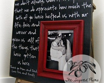 Wedding Thank You, Parents Thank You Gift, Father of the Bride, Mother of the Bride, Personalized Picture Frame, Custom Picture Frame 16x16