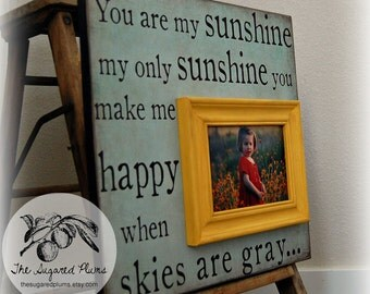First Birthday, Grandparents Day, Gift For Grandma, Grandpa Gift, Baptism Gift, Personalized Picture Frame, YOU are MY SUNSHINE, 16x16
