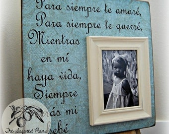 Baby Picture Frame Personalized Spanish 16x16 I'll LOVE YOU FOREVER Baptism Christening First Birthday Gift Godparents New Baby