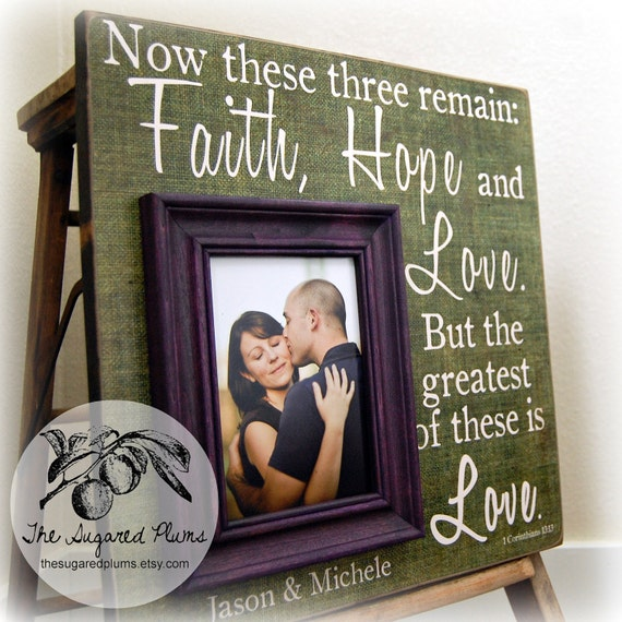 Wedding Gift Personalized Picture Frame : Personalized Picture Frame Wedding Gift Custom 16x16 FAITH HOPE and ...