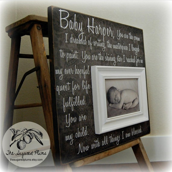 Items Similar To Baptism Gift Personalized Picture Frame
