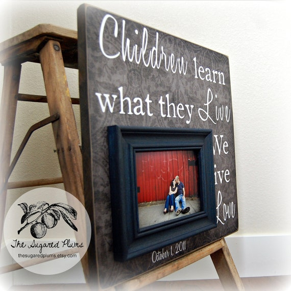 Parent Wedding Gift Quotes : Wedding Gift 16x16 CHILDREN LEARN WHAT Anniversary Love Father Mother ...