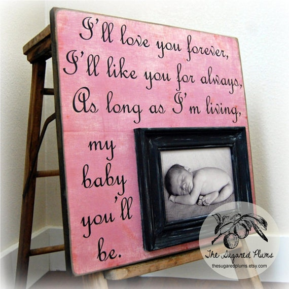 BABY GIFT For Baby Personalized Custom Picture Frame 16x16 I'll Love You Forever Baptism Christening First Birthday Godparents Girl Pink
