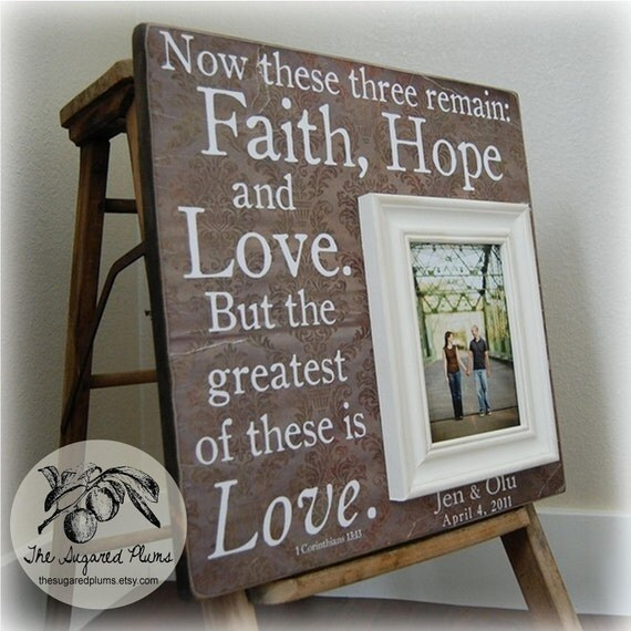 FAITH HOPE LOVE Personalized Picture Frames Wedding Gift Custom 16x16 Anniversary Father Mother Parents Quote Thank You Wedding Sign