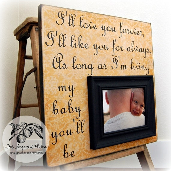 Fathers Day Gift For Baby Personalized Custom Picture Frame 16x16 I'll Love You Forever Baptism First Birthday Godparents Fathers Day