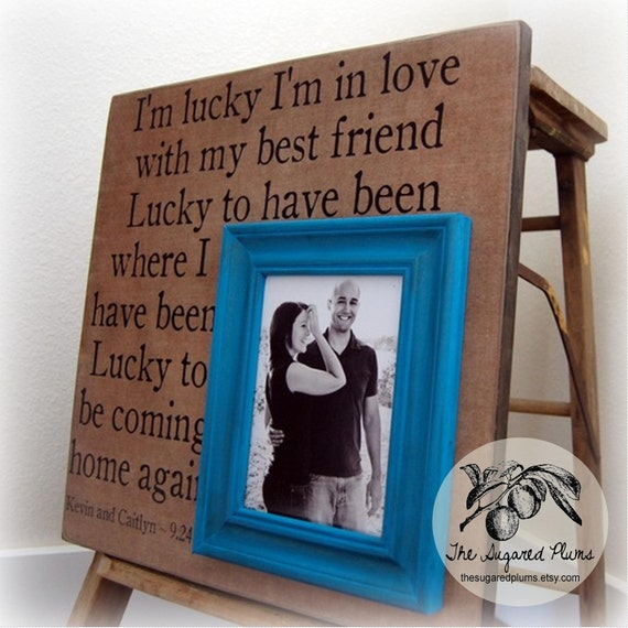 Wedding Frame Personalized Wedding Gift 16x16 I'M LUCKY Anniversary Love Father Mother Parents Shower Quote Song Vows Frames