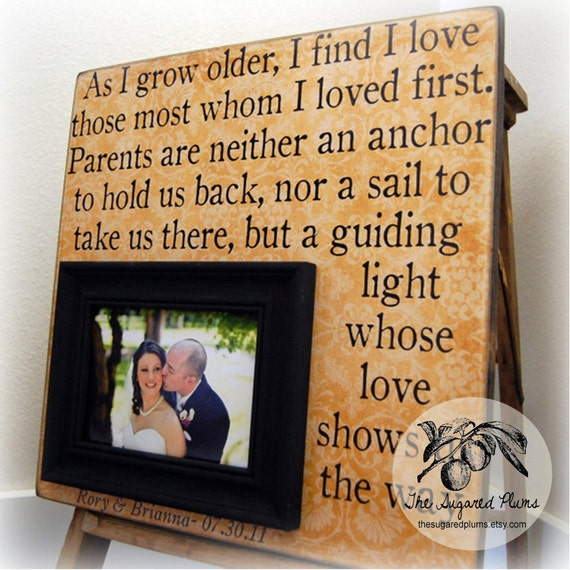 Parent Gifts For Wedding Personalized Picture Frame 16x16 As I Grow ...