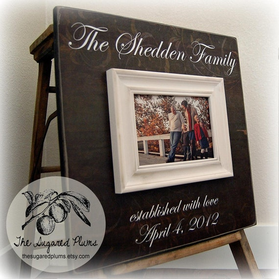 Personalized Family Name Sign Established Picture Frame Wedding Gift Custom 16x16 Anniversary Father Mother Parents Thank You Gift