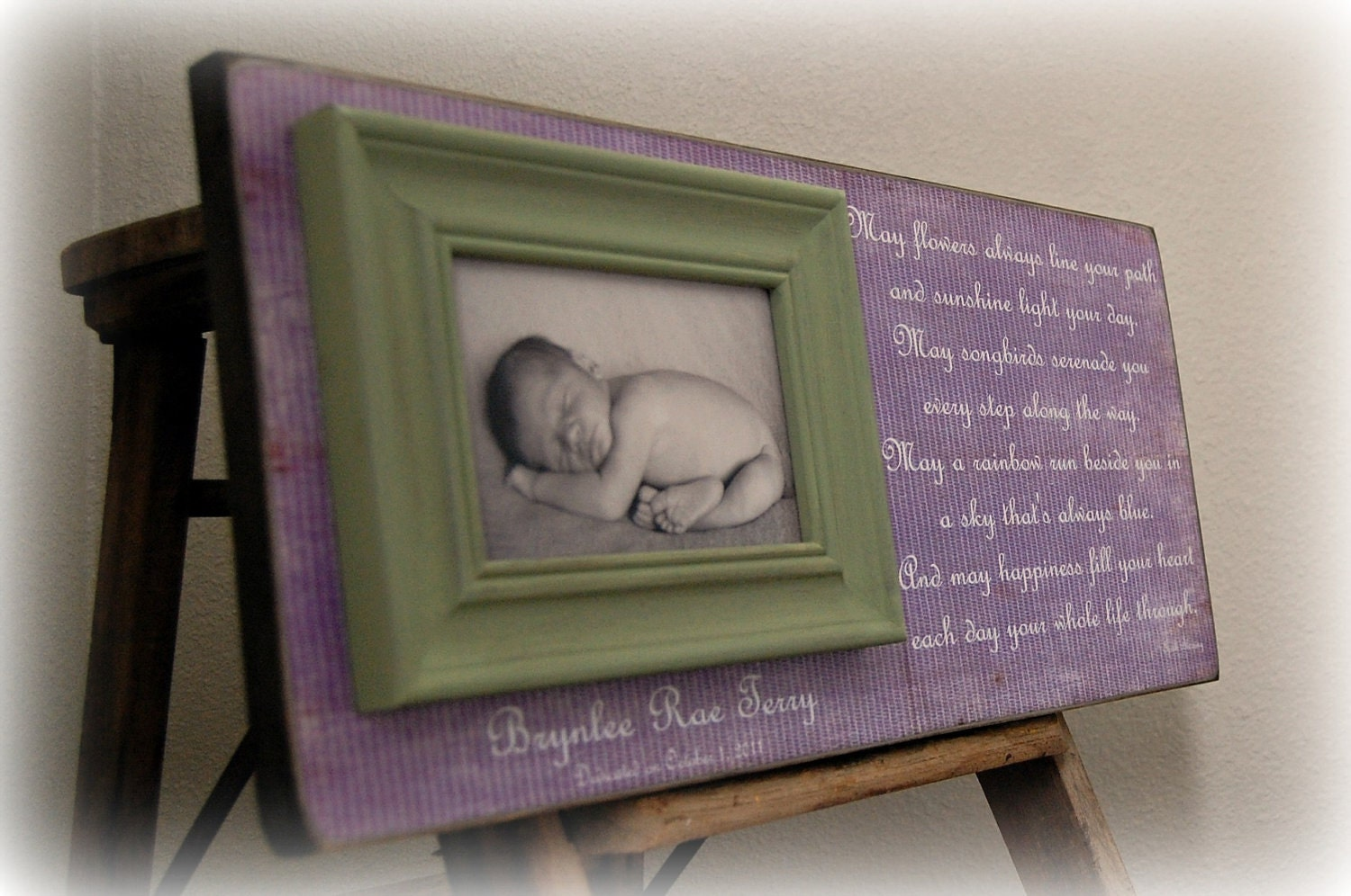 Baby Picture Frame Personalized Custom Picture Frames 8x20