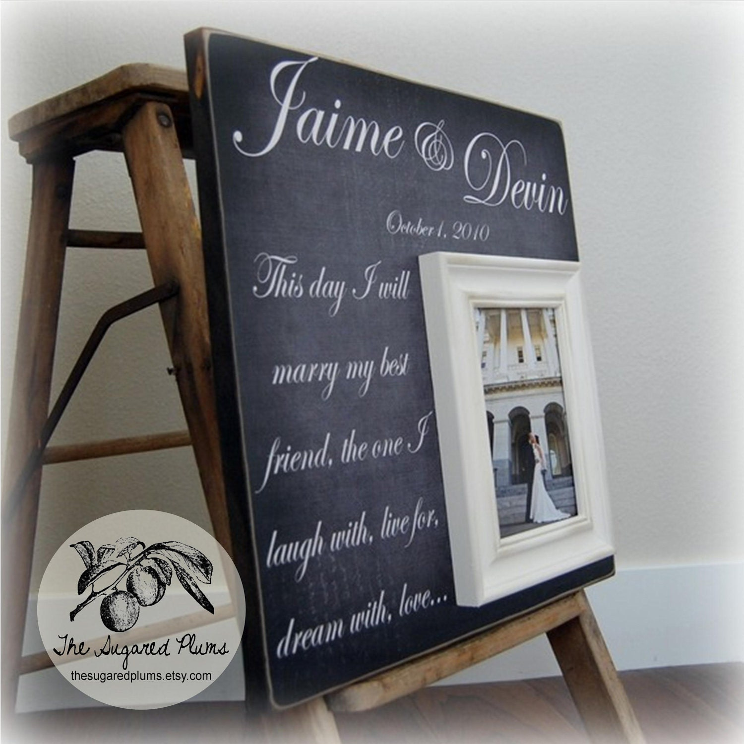 wedding sign personalized wedding gift picture frame
