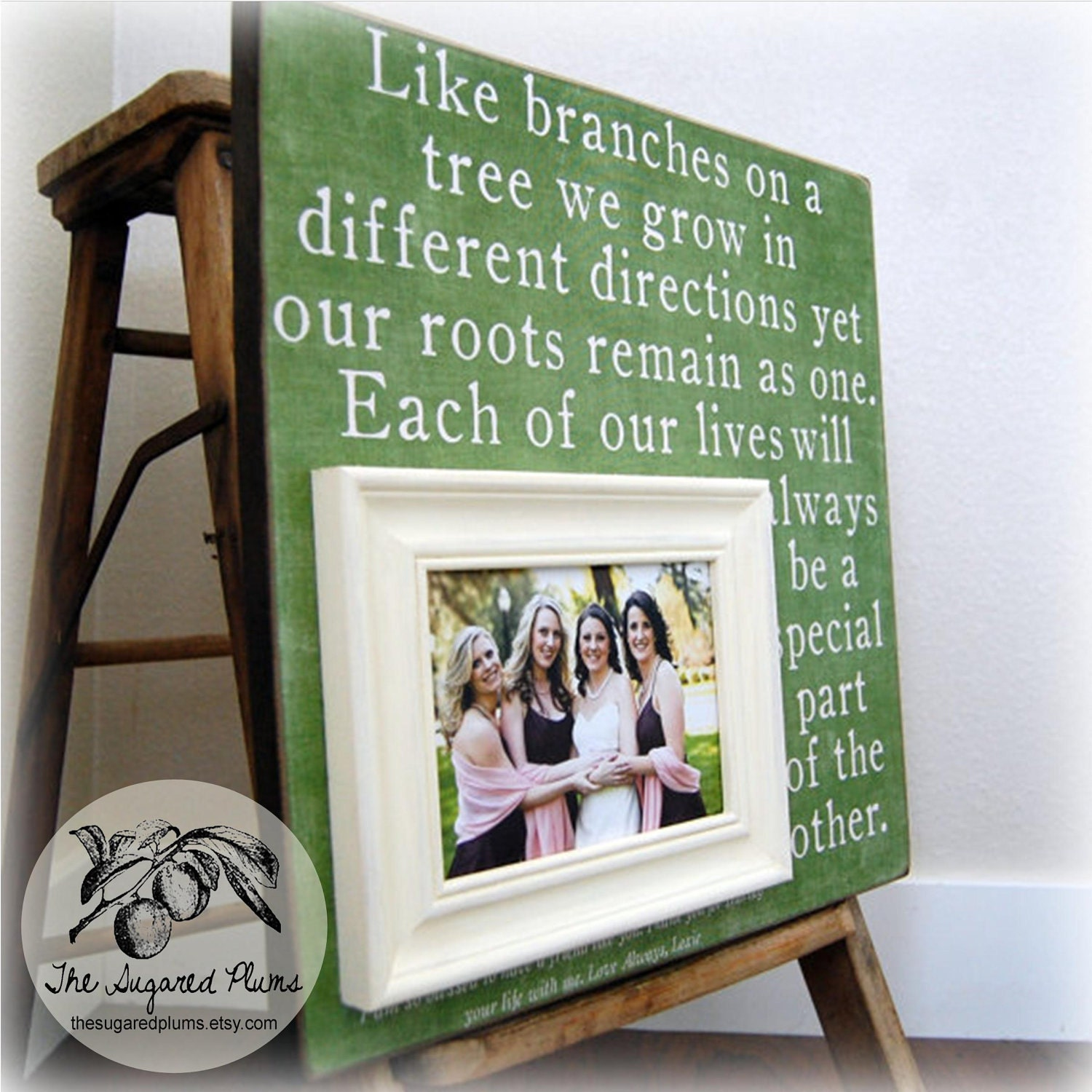 sister frame bridesmaid maid of honor sorority best friend personalized picture frame 16x16 branches on a tree the sugared plums