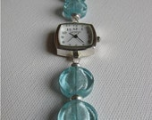 Square Faced Watch with Aqua Beads