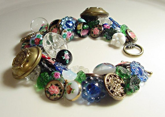 Handmade Button Bracelet Vintage Paperweight and Flower Buttons