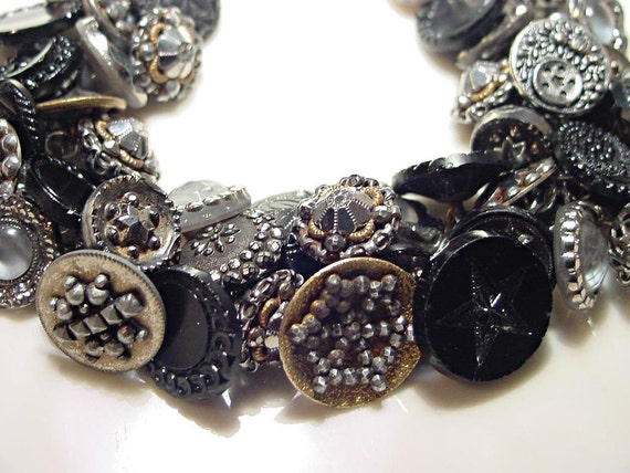Vintage Button Bracelet Moon and Star Buttons