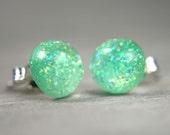 little globe sterling post earrings in sparkly aqua - 8mm