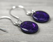 purple sparkly earrings on sterling silver
