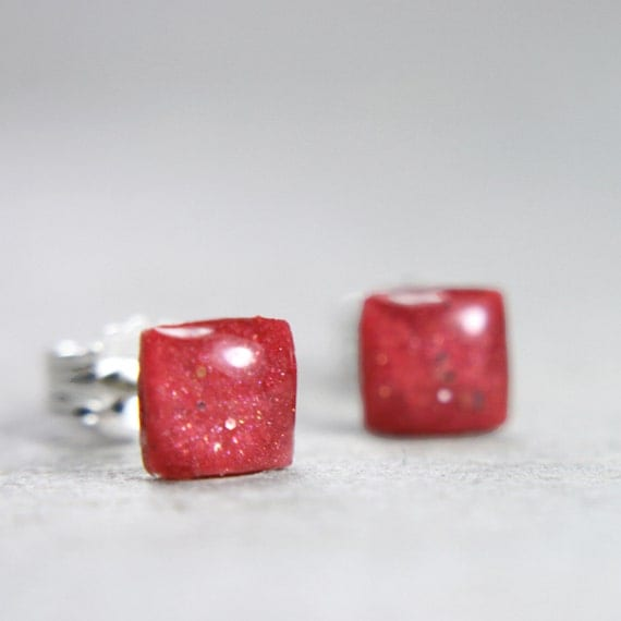 tiny square post earrings in pink -on sale-