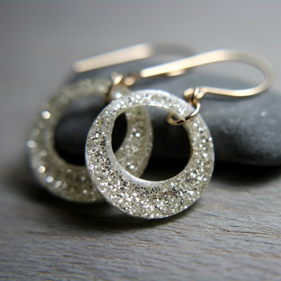 white sparkly earrings on 14k gold fill ear wires