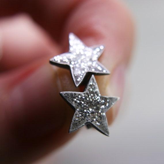 oxidized fine silver star post earrings