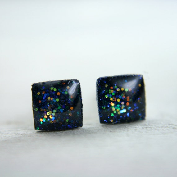 tiny square post earrings in sparkly deep blue galaxy -on sale-