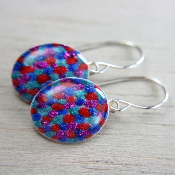 multicolor dangly earrings - sparkly purple, red, aqua, and cobalt blue