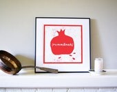 Bright Red, Graphic Rummanah (Pomegranate) Woodcut