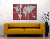 World Map Canvas Giclee 6 Panel - Retro Red and White