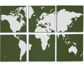 World Map 6 Panel Canvas Giclee - Olive and White