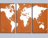 World Map Triptych Canvas Giclee - Retro Orange and White
