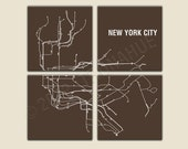New York City Subway 4 Panel Canvas Giclee - Brown and White