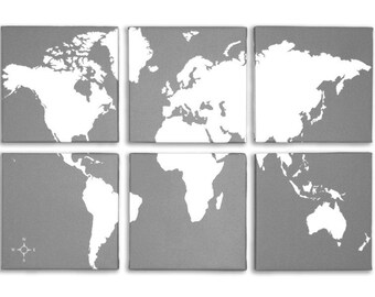 World Map 6 Panel Canvas Giclee