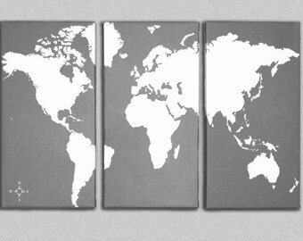 World Map Canvas Giclee Triptych - Grey and White