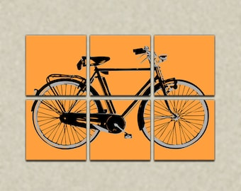 Retro Bicycle Six Panel Canvas Giclee - Yellow and Black