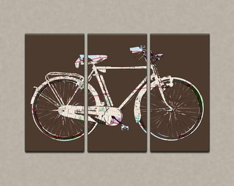 New York Street Map Bicycle Triptych Canvas Giclee -Brown