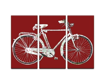 Austin Texas Street Map Bicycle Triptych Canvas Giclee - Retro Red