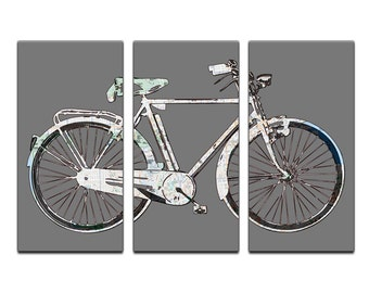 San Francisco Street Map Bicycle Triptych Canvas Giclee - Gray